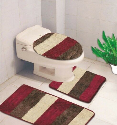 3PC BATHROOM RUG SET, CONTOUR RUG AND LID COVER SET