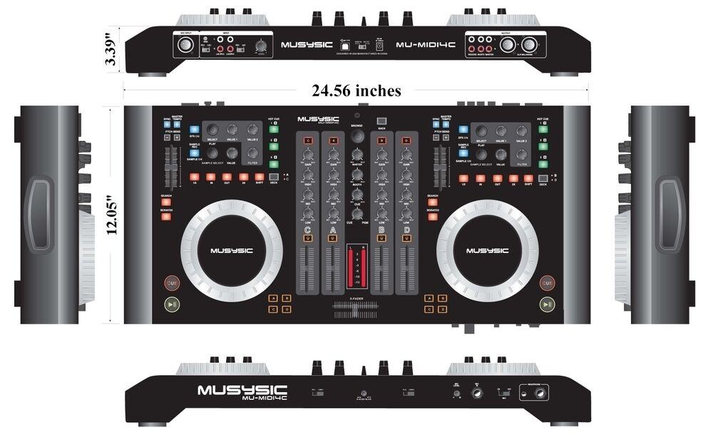 4 channel usb midi dj digital mixer controller w soundcard audio interface ebay. Black Bedroom Furniture Sets. Home Design Ideas