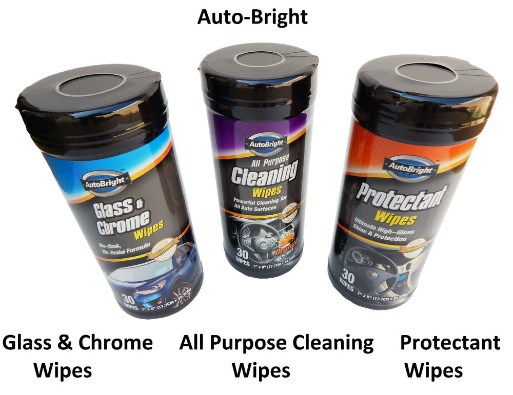 auto glass chrome wipes protectant wipes cleaning wipes clean shine protect ebay. Black Bedroom Furniture Sets. Home Design Ideas