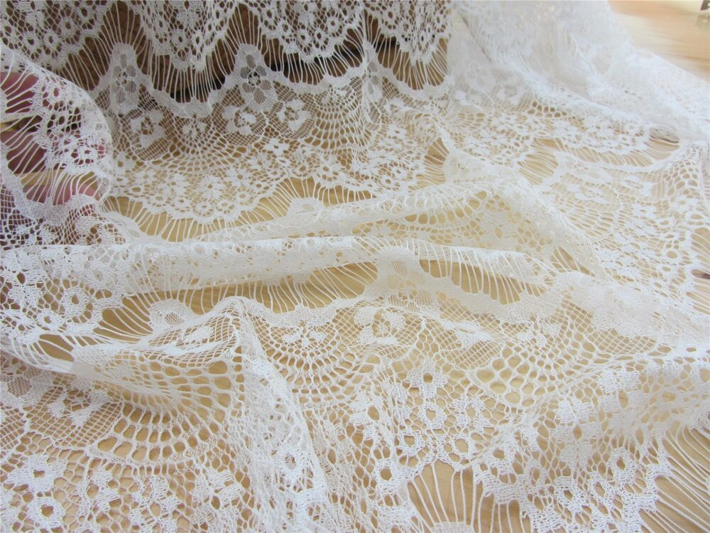 eyelash lace fabric off white eyelash lace fabric by the yard black dress lace ebay. Black Bedroom Furniture Sets. Home Design Ideas