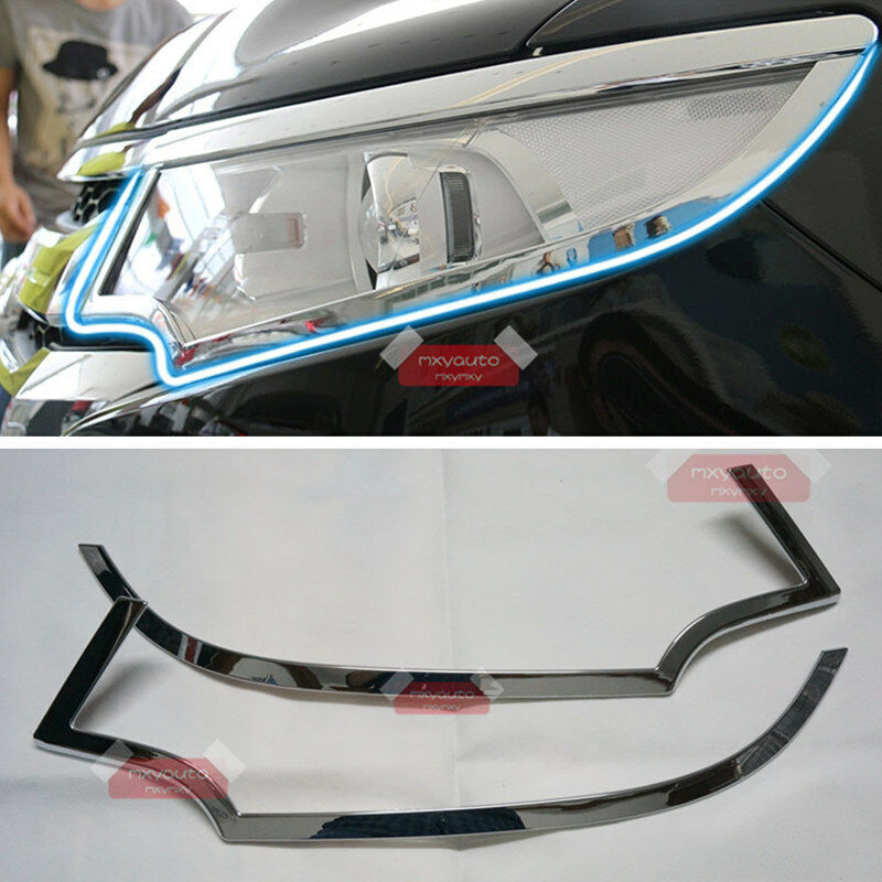 New Abs Chrome Trim Front Light Cover For Ford Edge 2011 2014 Ebay