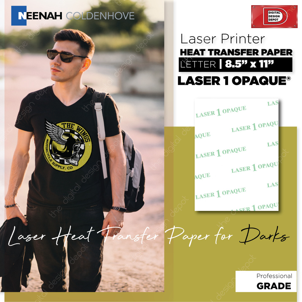 Neenah laser 1 opaque heat transfer paper 50 sheets for for T shirt transfer paper for dark fabrics