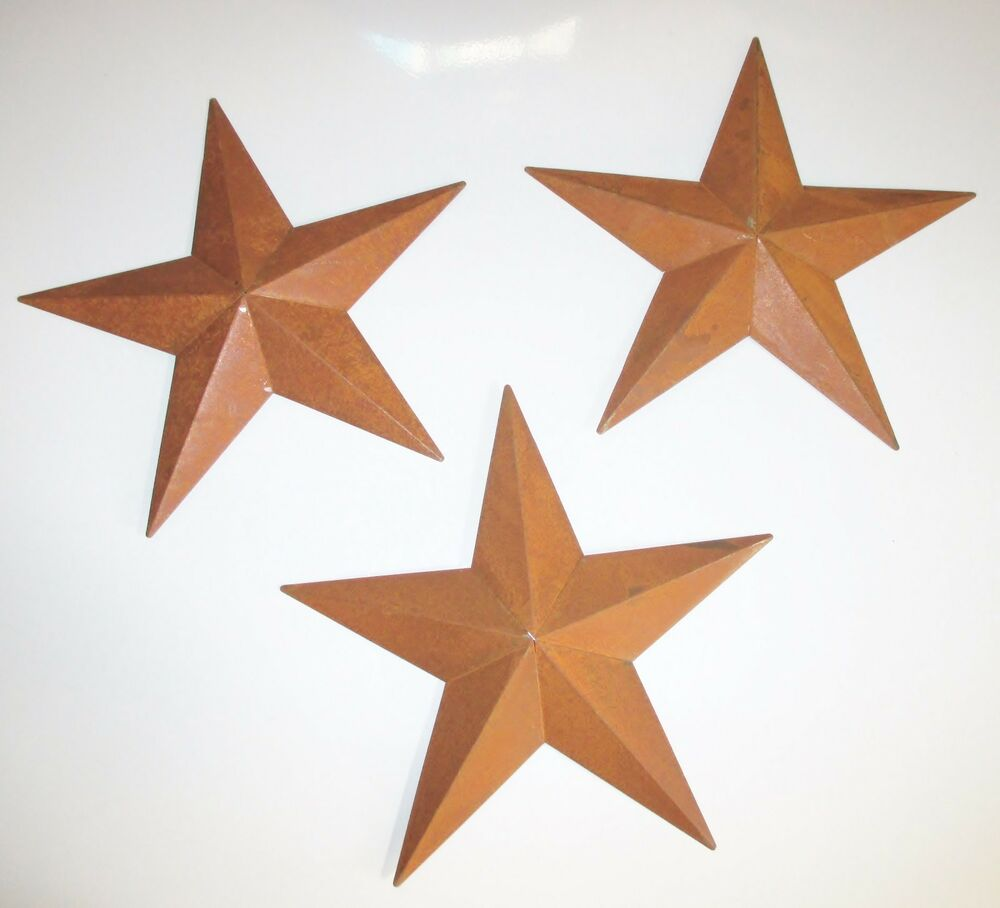 3 rusty tin stars 8 inch for home decor primitive for Barn star decorations home