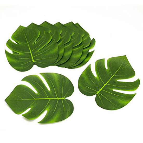 Lot of 12 polyester tropical green fake leaves leafs luau for Decoration leaves