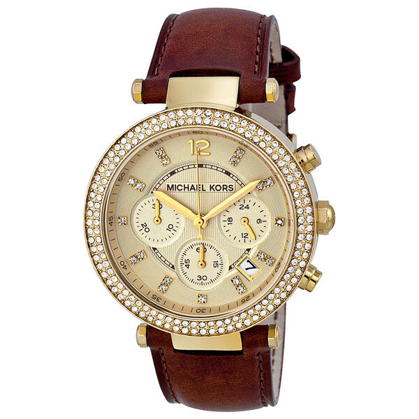 michael kors chronograph gold dial ladies watch mk2249 ebay. Black Bedroom Furniture Sets. Home Design Ideas
