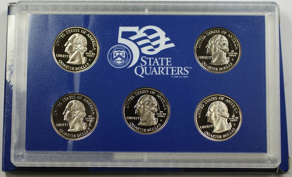 2000 S State Quarter Set 5 Coins Total In Hard Plastic