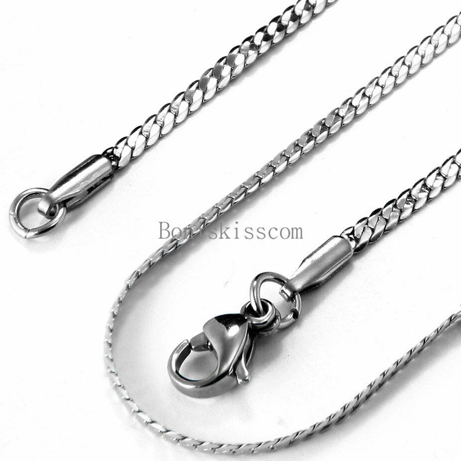 men 39 s stainless steel necklace flat curb link chain 22. Black Bedroom Furniture Sets. Home Design Ideas