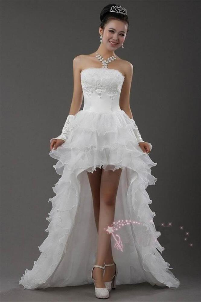 Strapless Short In Front Long White Slim Bride Wedding