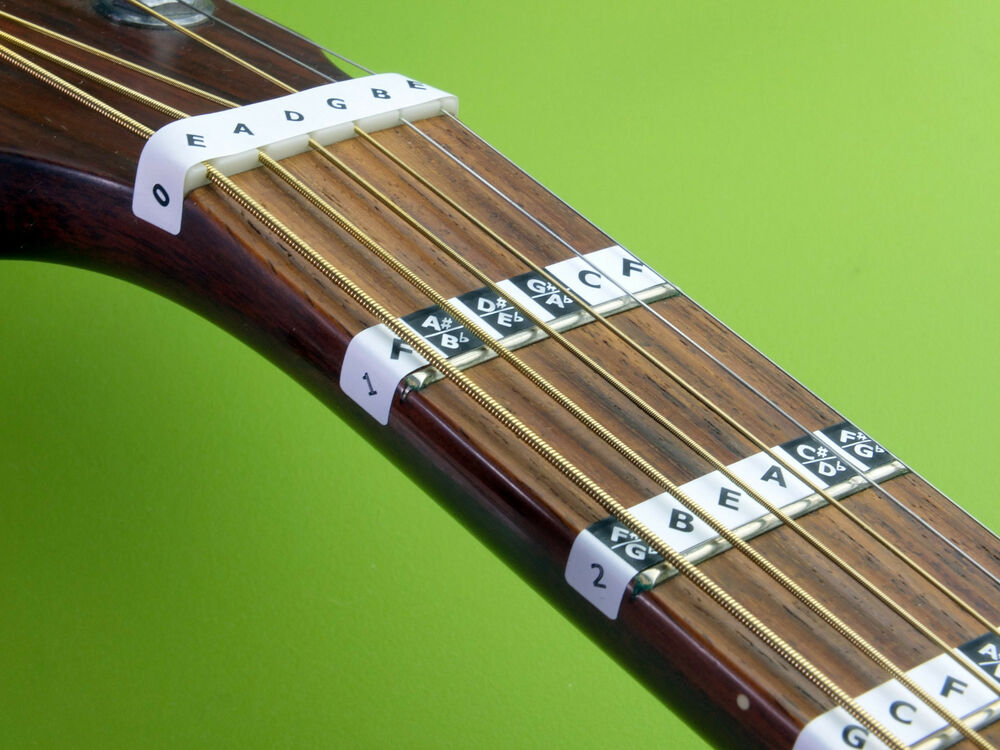 learn guitar scales fretboard note stickers fret labels decal online lessons ebay. Black Bedroom Furniture Sets. Home Design Ideas