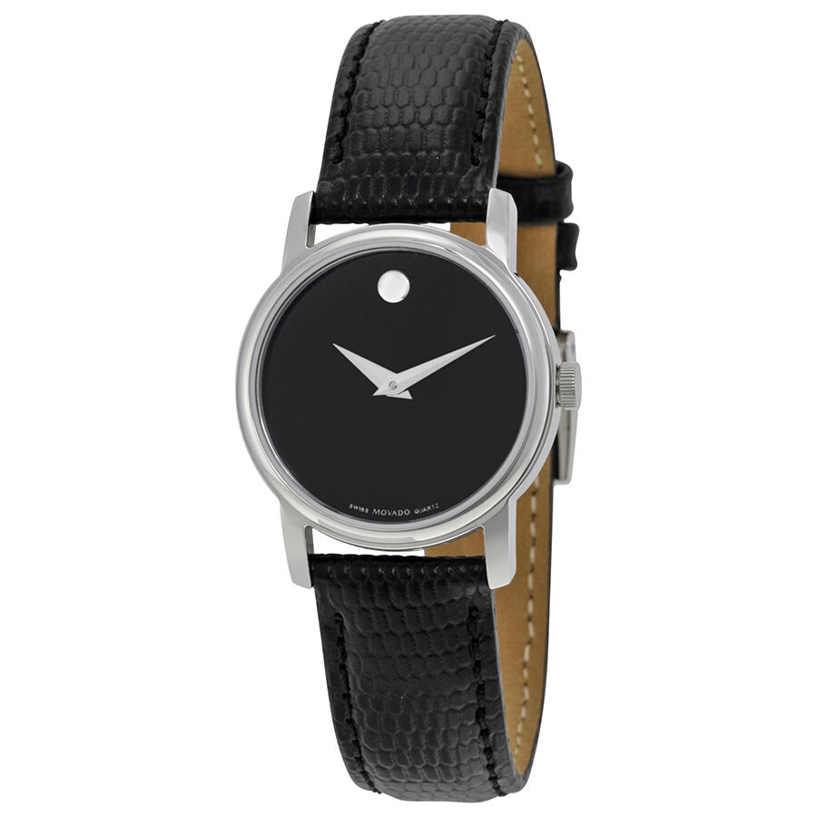 movado museum black dial black leather strap ladies watch 2100004 ebay