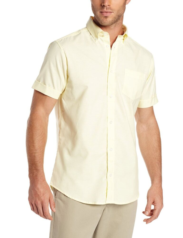 Mens lee yellow oxford dress shirt button down short for Mens short sleve dress shirts