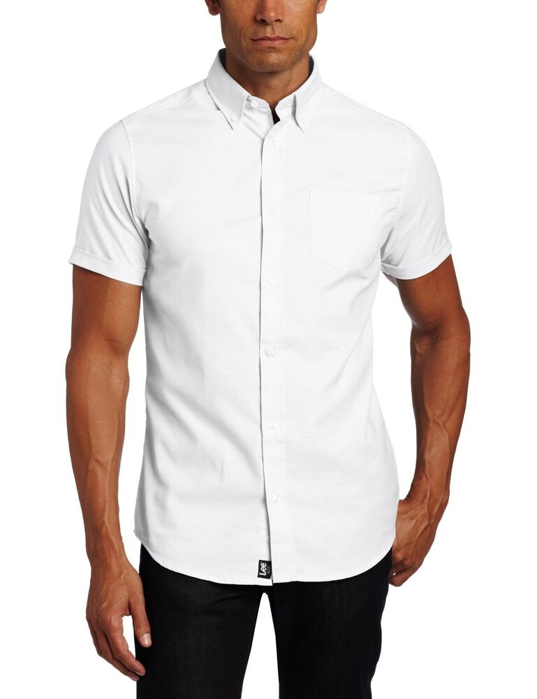 Mens lee white oxford dress shirt button down short sleeve for Short sleeved shirts for men