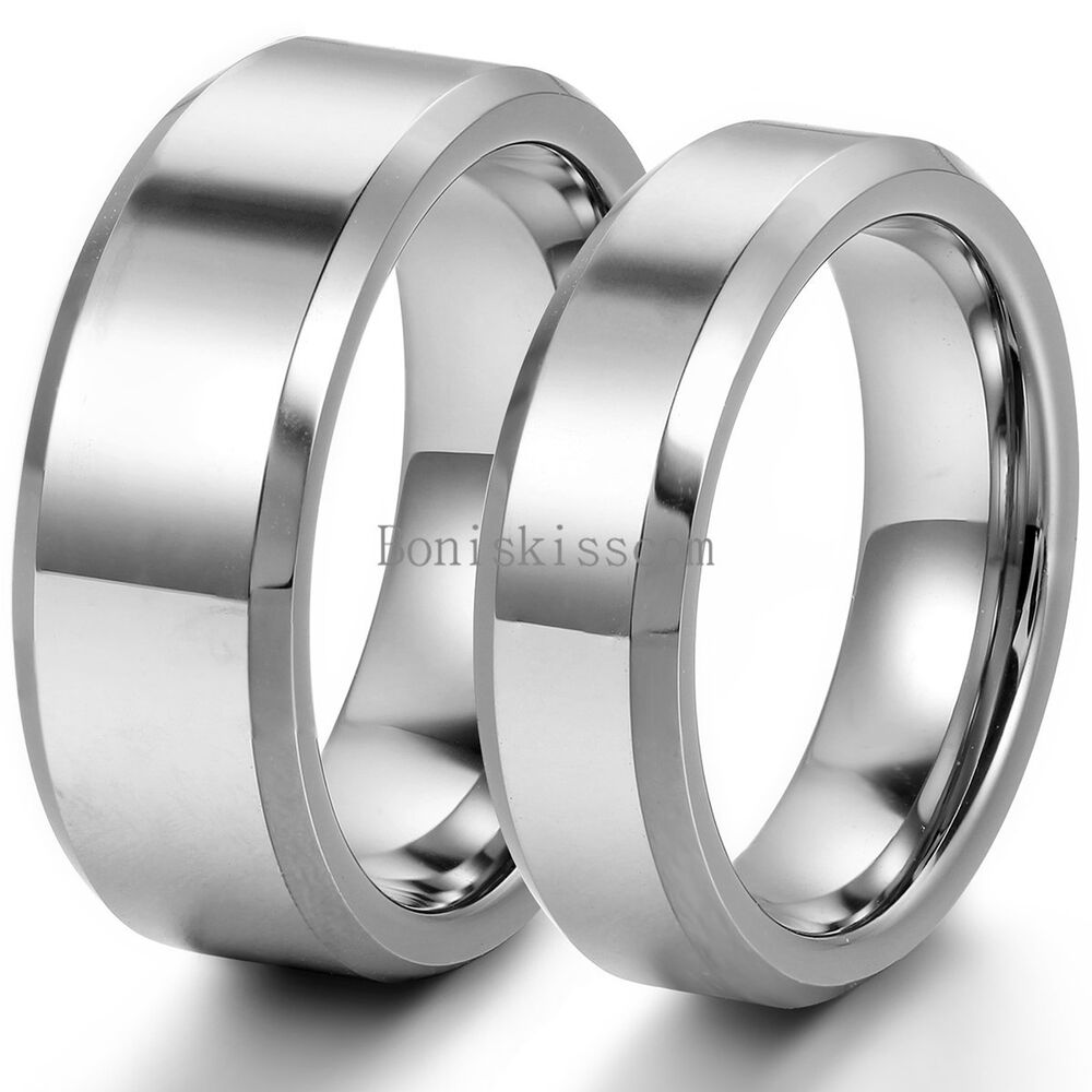 Polished Comfort Fit Beveled-edge Tungsten Couples Ring