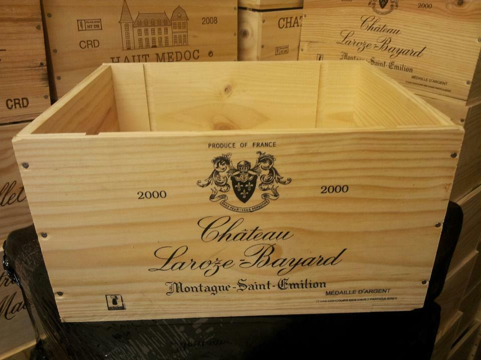 French crested 6 bottle wooden wine crate box christmas for Where to buy used wine crates