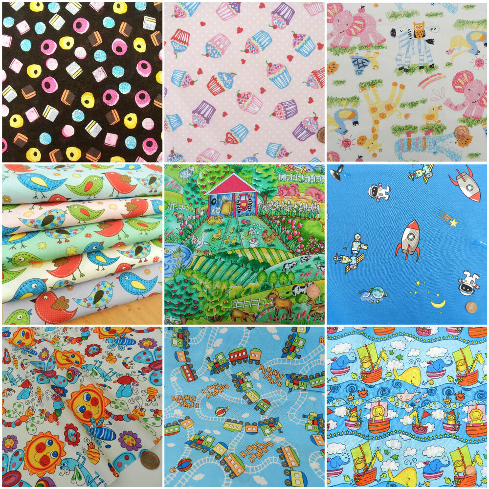 Per half metres childrens fabrics 100 cotton variety of for Childrens cotton fabric