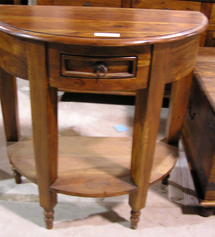 Mango wood half moon round console table with drawer ebay