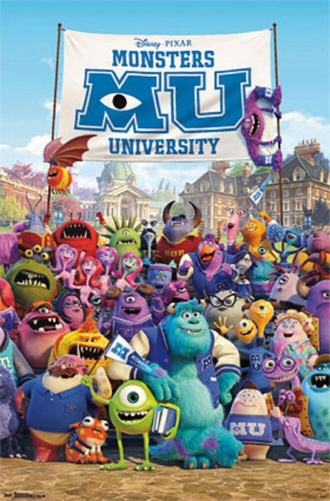 Monsters University Characters Group Movie Poster Art ...