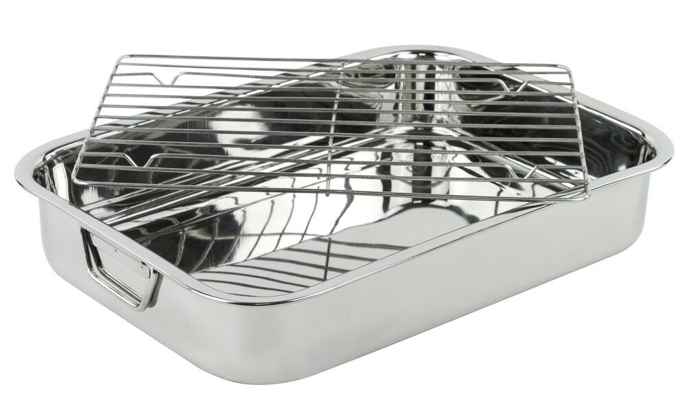 stainless steel heavy duty lasagna pan 16 inch roasting pan with rack ebay. Black Bedroom Furniture Sets. Home Design Ideas