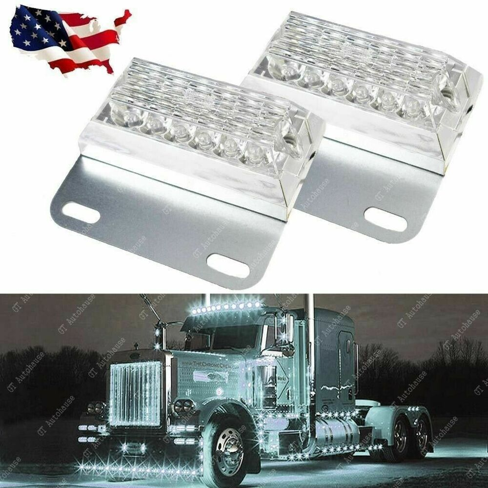 Commercial Vehicle Lighting: Pair White 12-LED Truck Trailer Side Marker Lights For
