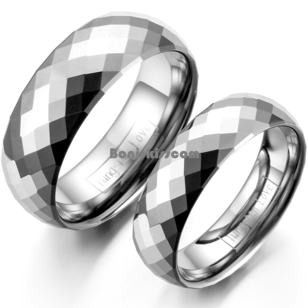 Polished Multi Faceted Tungsten Carbide Promise Ring Anniversary Wedding Band