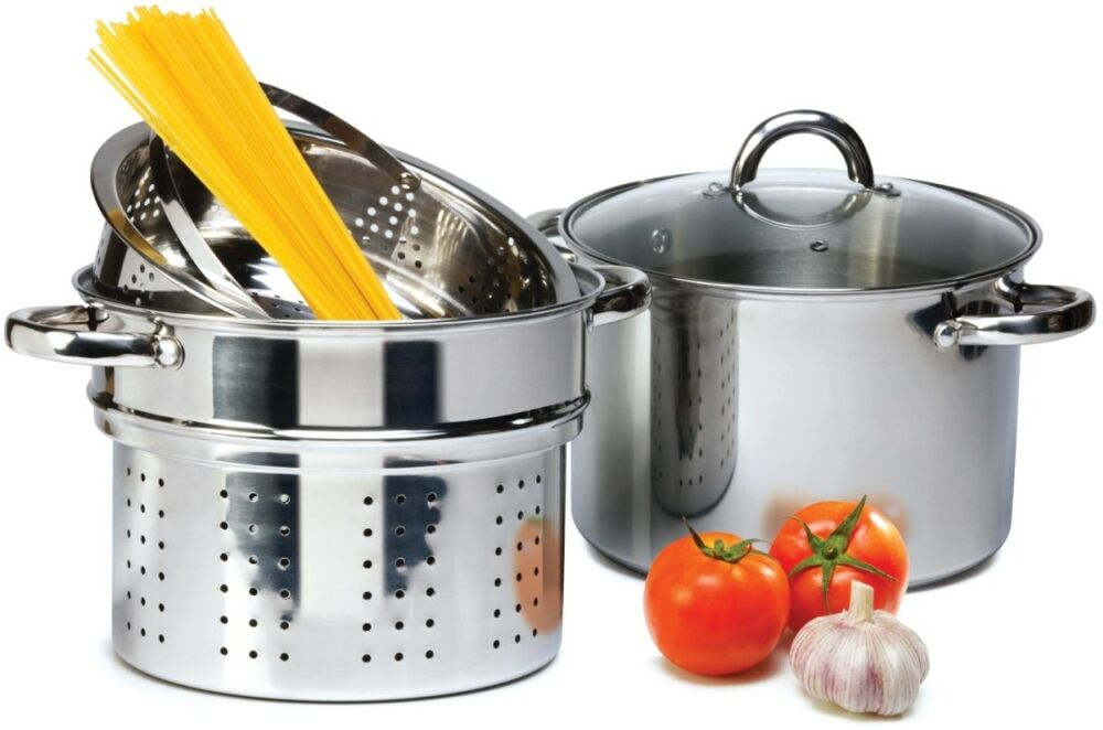 4 Pcs Stainless Steel Pasta Cooker Set 8 Qt Stock Pot