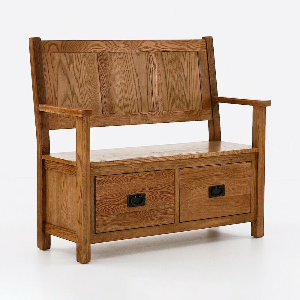 Zelah Oak Large Monks Bench Oak Hall Bench With Drawers