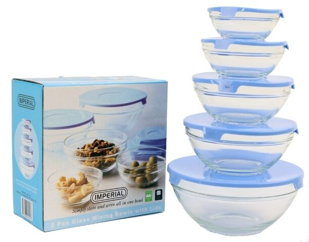 10 pcs glass lunch bowls healthy food storage containers set with blue lids ebay. Black Bedroom Furniture Sets. Home Design Ideas