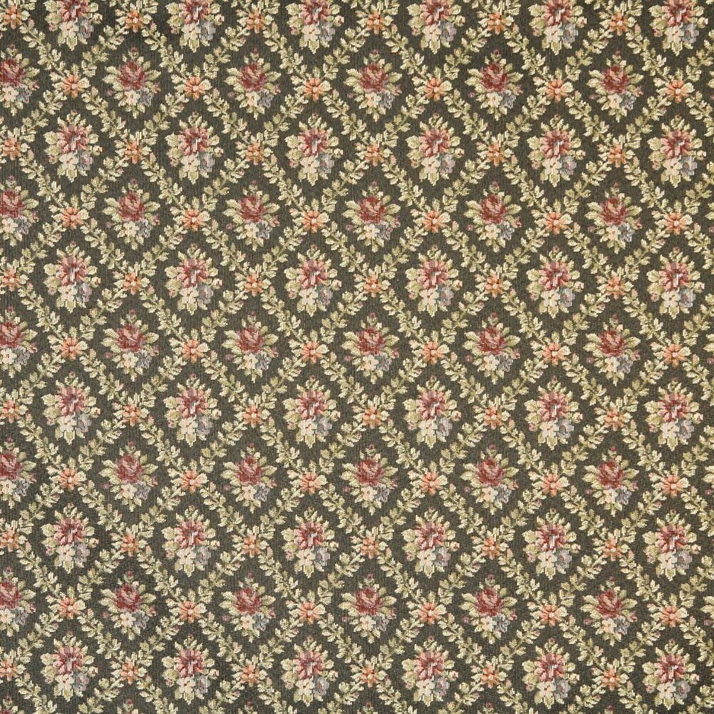 F921 green red dark blue floral diamond tapestry for Upholstery fabric