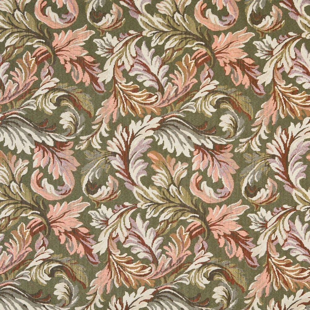 F903 Green And Purple Floral Leaves Tapestry Upholstery Fabric By