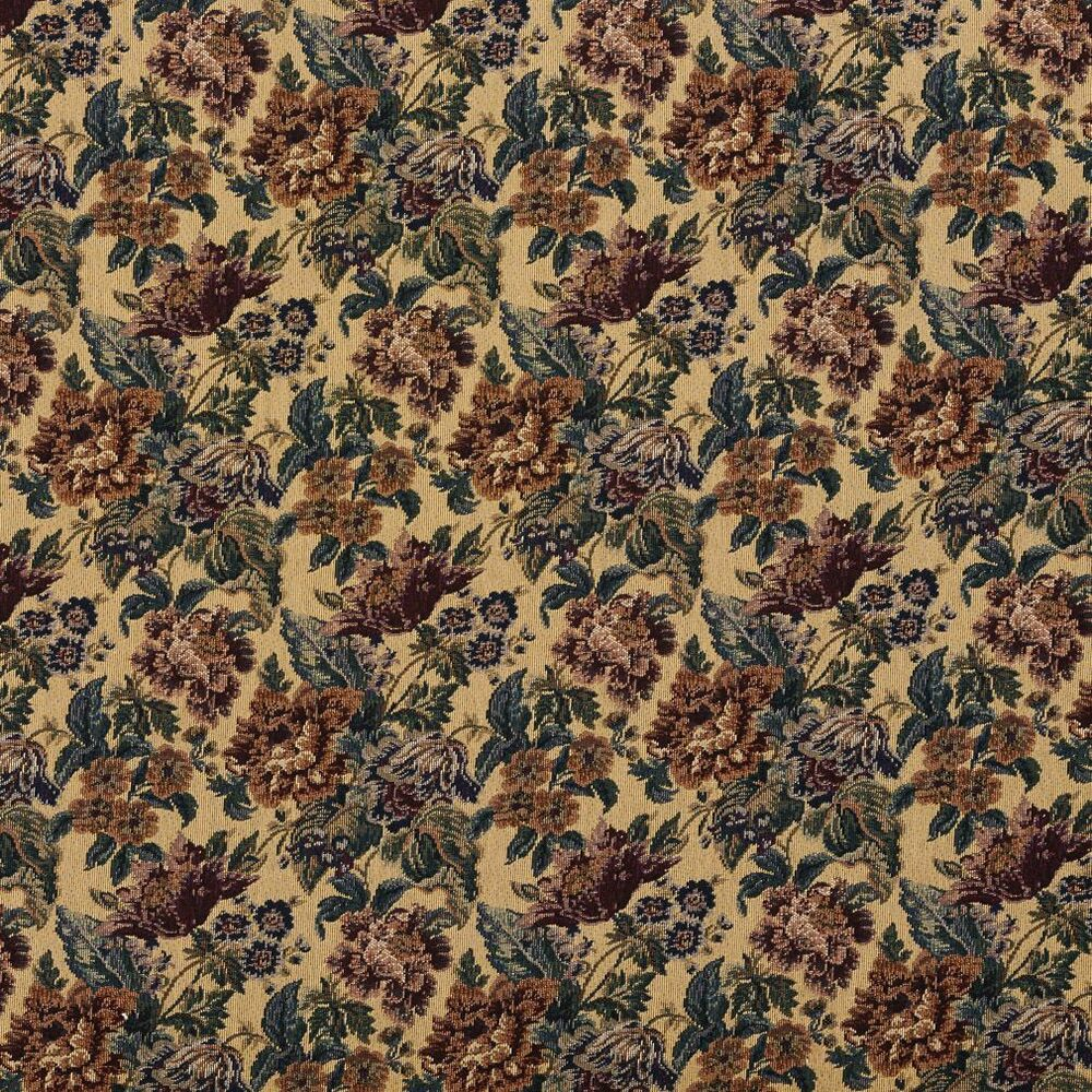 F672 beige green burgundy vintage floral tapestry for Upholstery fabric