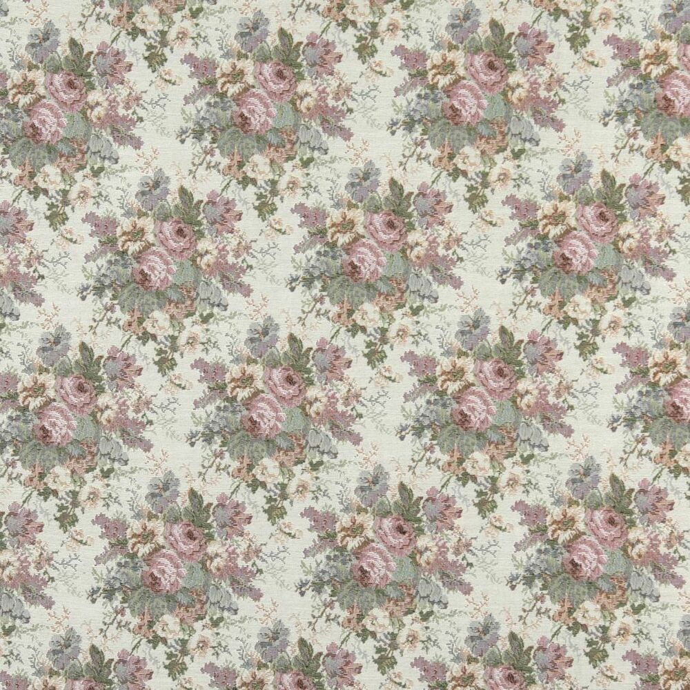 B400 Pink Blue And Green Floral Tapestry Upholstery Fabric By The