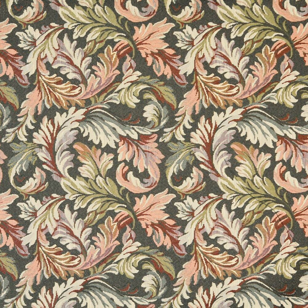 F901 navy red and green floral leaves tapestry upholstery for Floral upholstery fabric