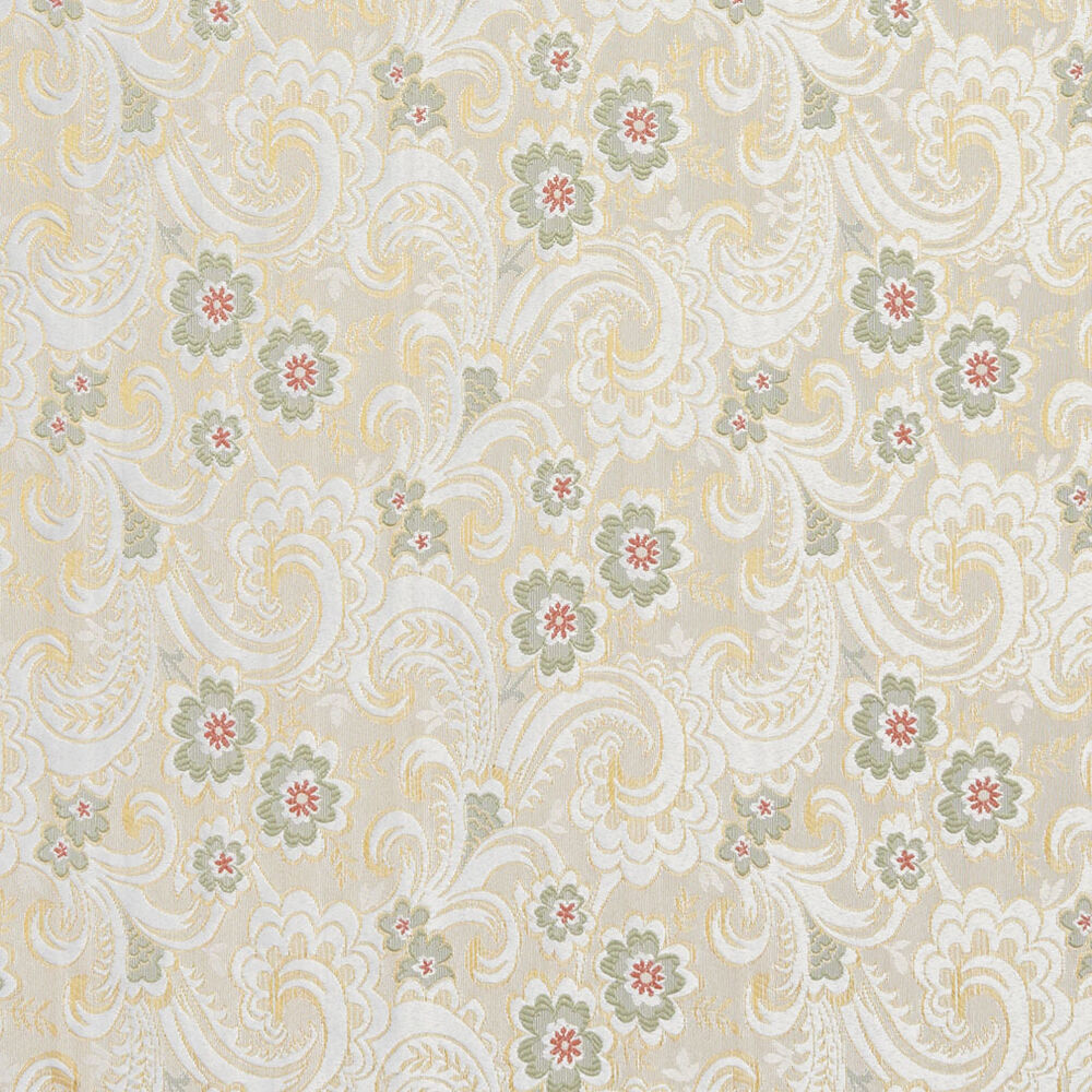 E391 gold white red green paisley floral brocade for Floral upholstery fabric