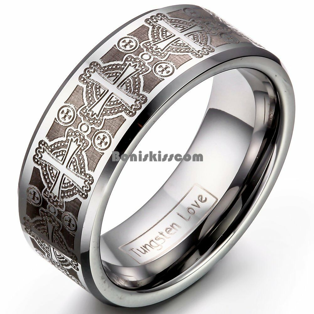 8mm men39s tungsten carbide ring comfort fit laser celtic for Tungsten celtic wedding ring