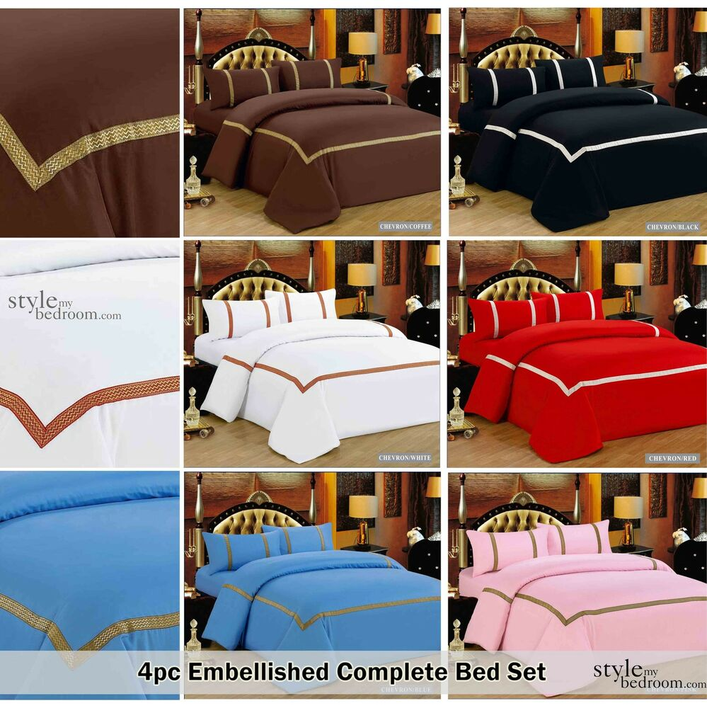4pc embellished trim complete duvet quilt cover bedding How to put a fitted sheet on a bed