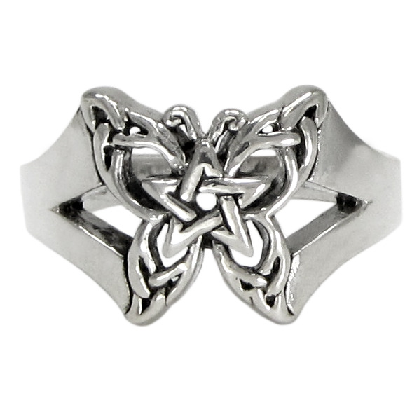 sterling silver butterfly pentacle toe ring dryad design