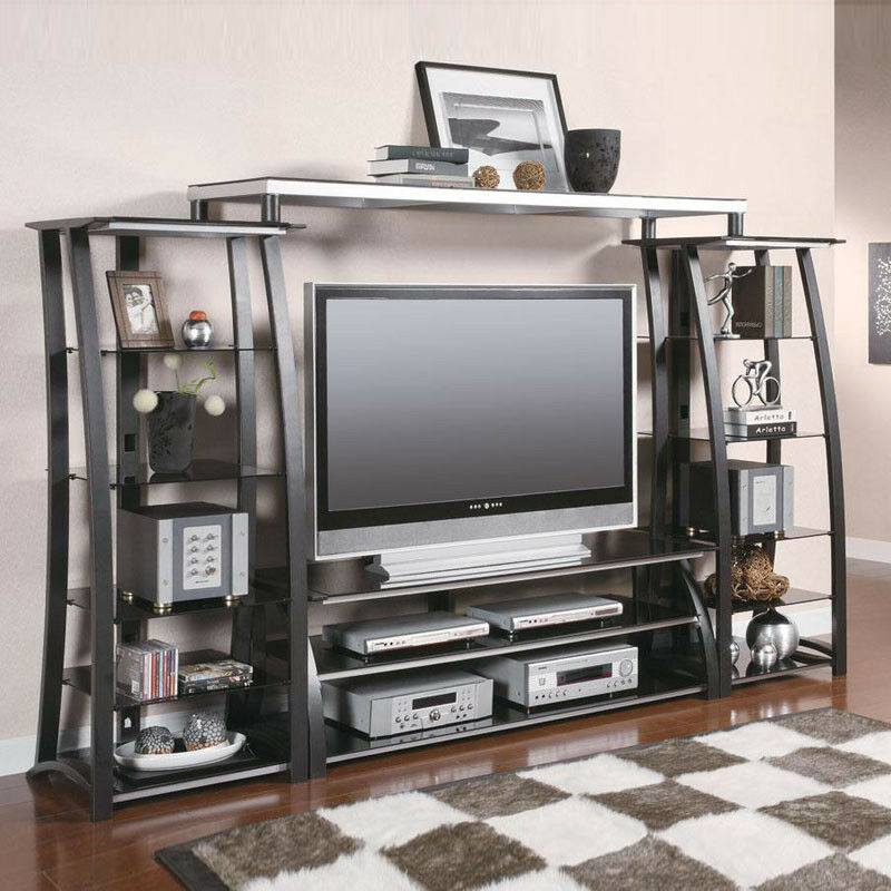 Large 60 39 39 l entertainment center tv stand media tower for Tv shelving wall units