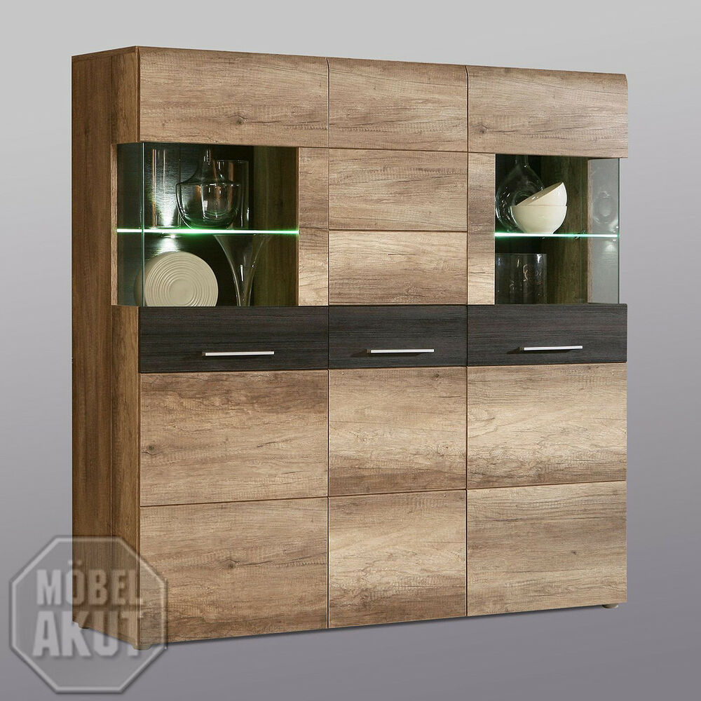 highboard nabou vitrine kommode eiche antik touchwood. Black Bedroom Furniture Sets. Home Design Ideas