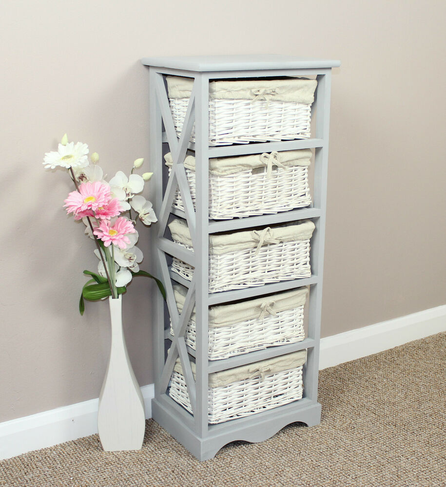 shabby chic furniture storage unit painted wicker basket storage furniture ebay. Black Bedroom Furniture Sets. Home Design Ideas