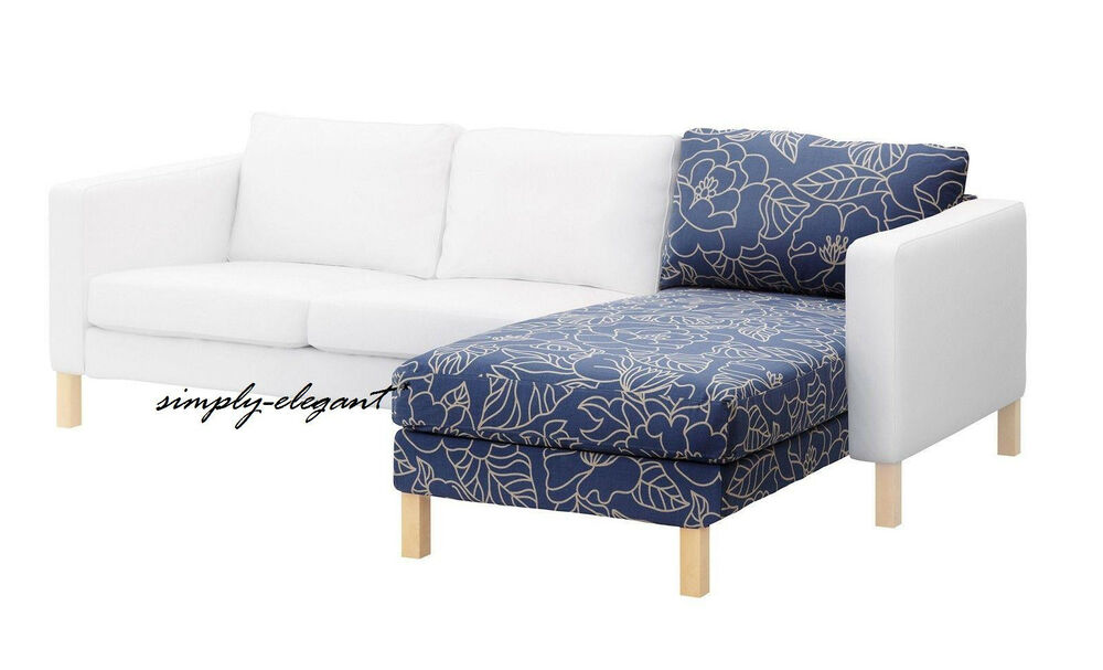 Ikea cover for karlstad add on chaise lounge slipcover blad ker blue beige nib ebay - Ikea chaise lounge cover ...