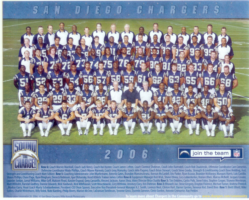 2006 San Diego Chargers Team 8x10 Photo Tomlinson Football