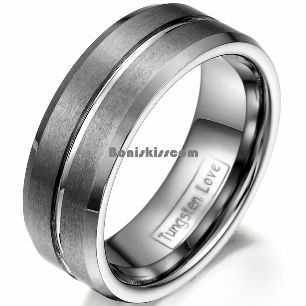 8mm Matte Finished Tungsten Carbide Ring Polish Grooved
