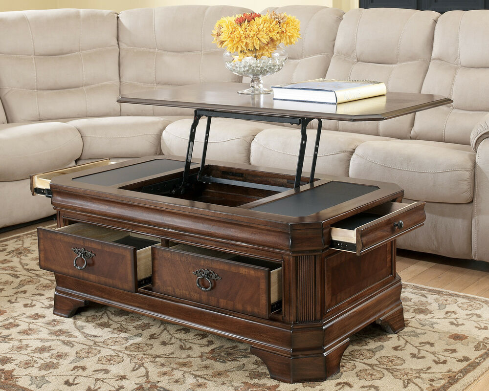 Medium brown traditional lift top cocktail coffee table for Living room cocktail tables