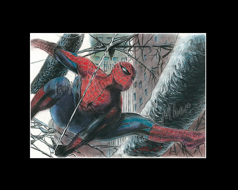 Spiderman comic book pastel drawing from artist art - Image spiderman ...