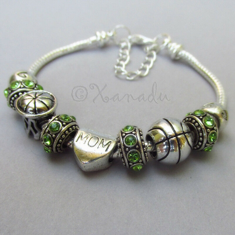 Mothers Charm Bracelet: Basketball Mom European Charm Bracelet With Birthstone