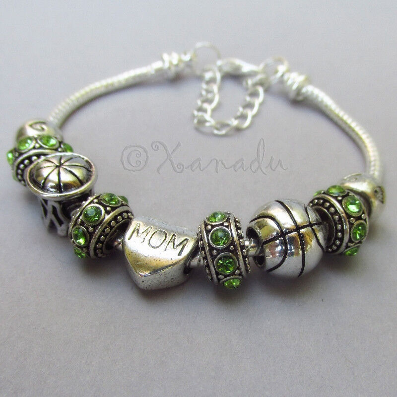 Birthstone Charm Bracelet: Basketball Mom European Charm Bracelet With Birthstone