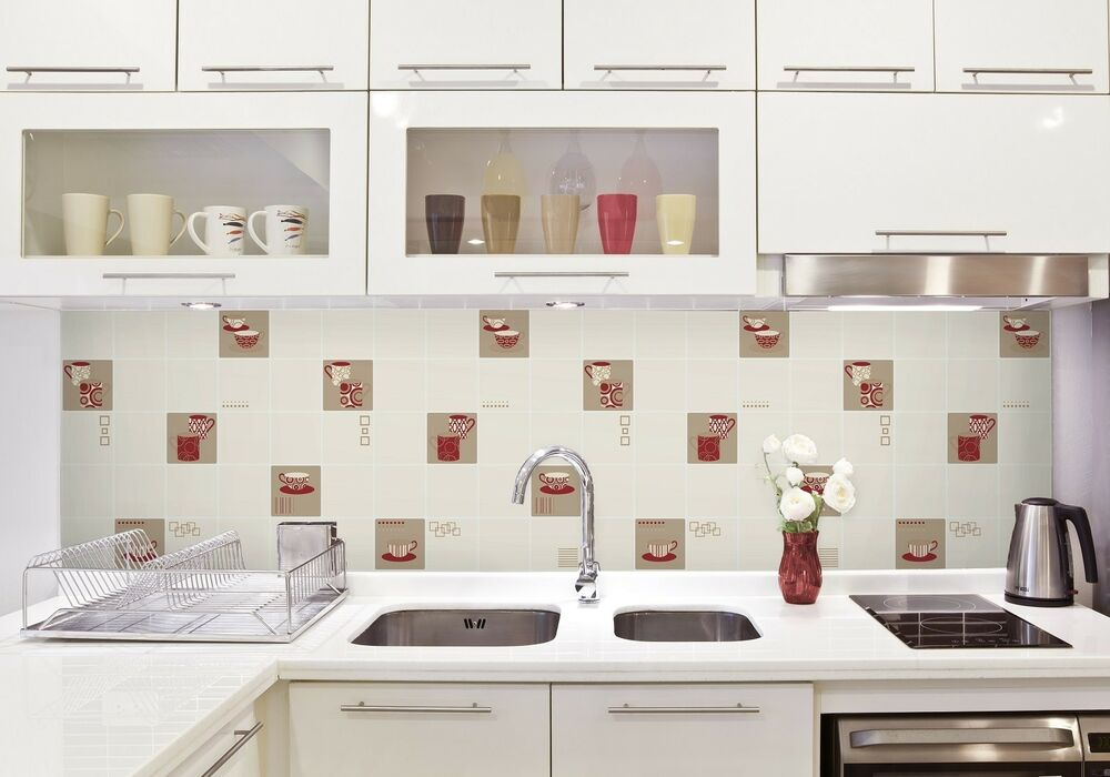 Decor FD13031 Luxury Kitchen Tile Effect Vinyl Wallpaper Cream Red