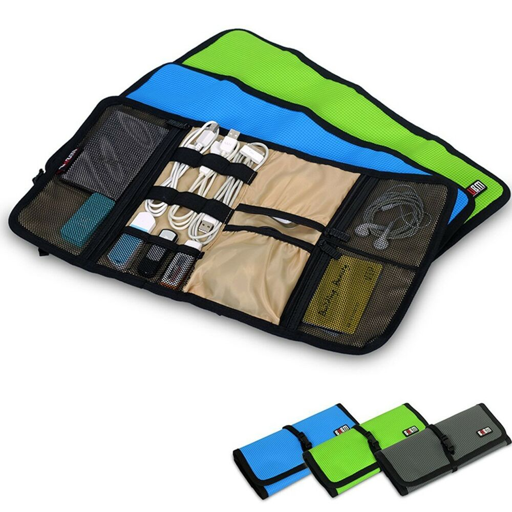 Color Spring Roll Style Carry On Cable Organizer Bag Usb