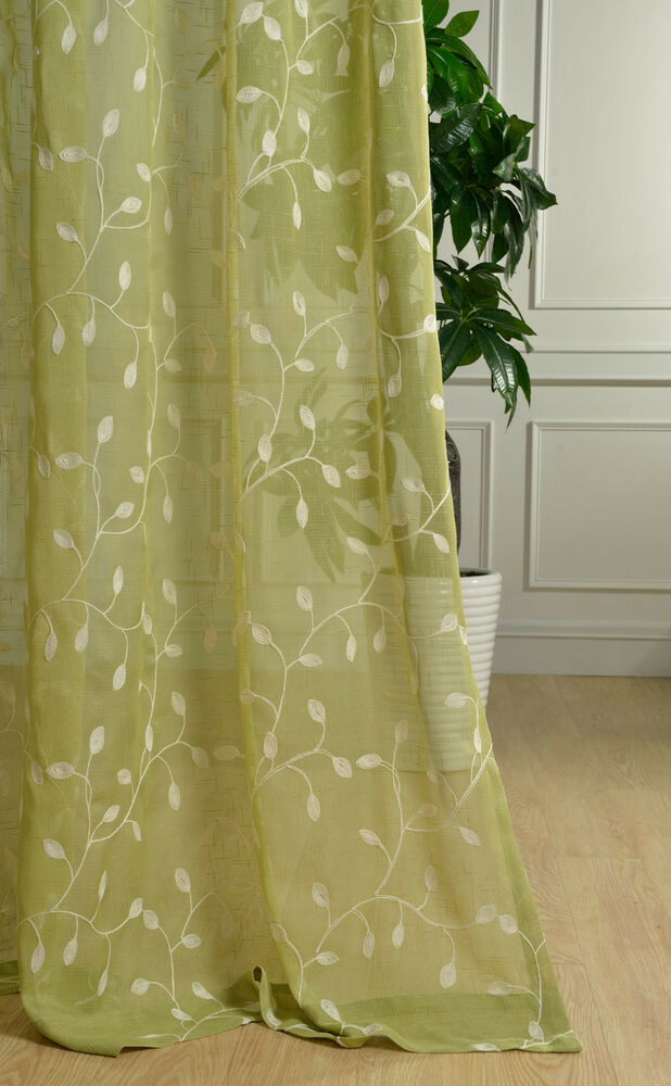 country white leaf floral embroidered sheer voile curtain