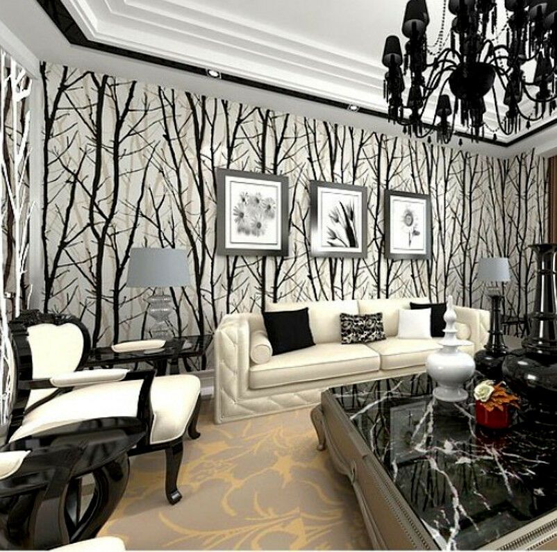 Modern abstract forest woods trees wallpape embossed viny for Black and white tree wallpaper mural